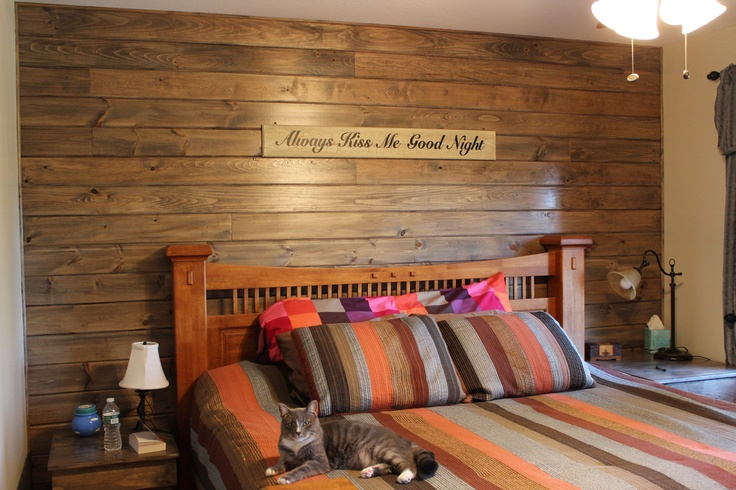 Stained Pine Board Accent Wall In Bedroom For The Home