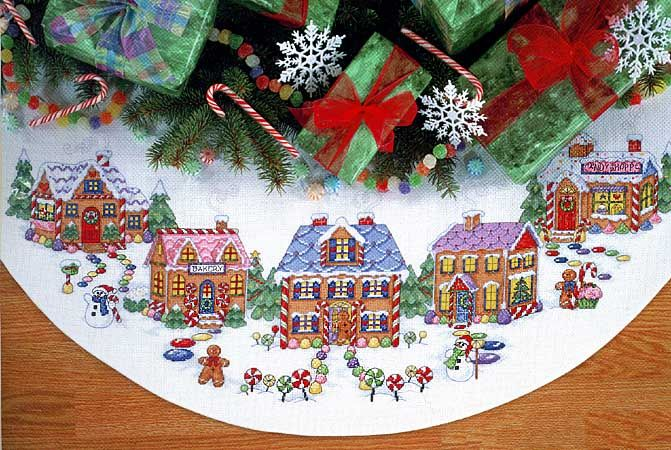GINGERBREAD LAND TREE SKIRT cross stitch kit CHRISTMAS RARE