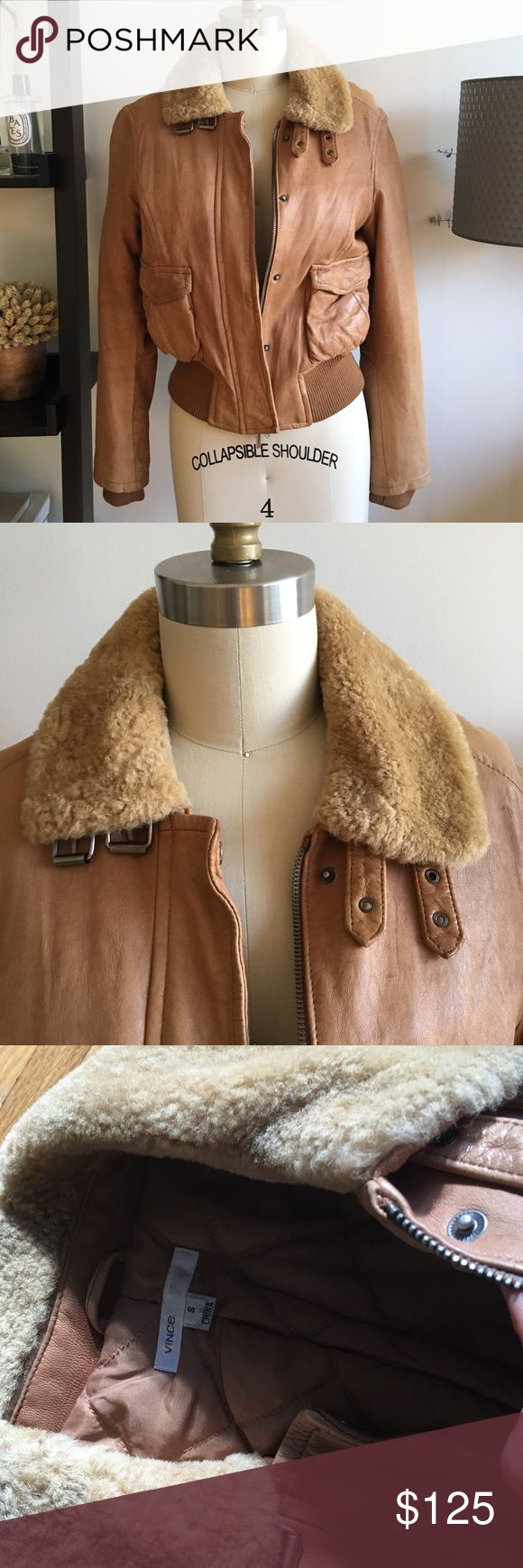 Vince tan bomber jacket Awesome leather bomber jacket with shearling collar Vince Jackets & Coats