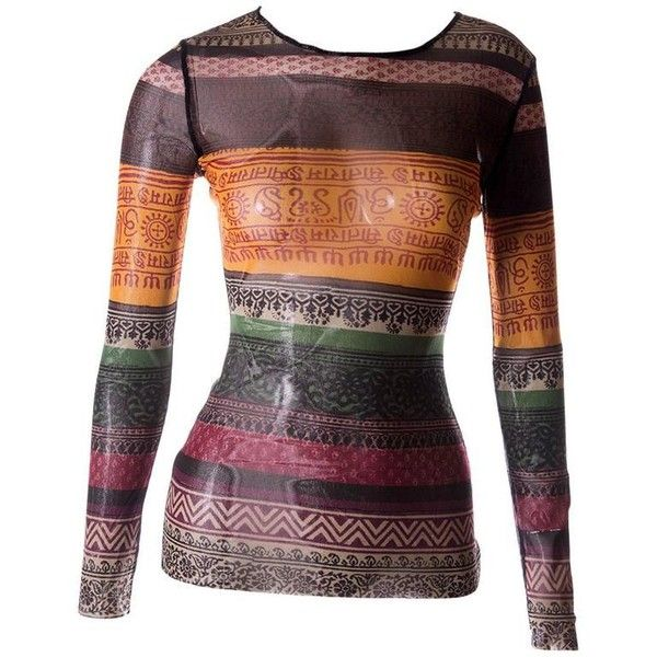 Preowned Jean Paul Gaultier Sheer Tribal Shirt (€375) ❤ liked on Polyvore featuring tops, multiple, print shirts, tribal shirts, tribal tops, shirt tops and sleeve shirt