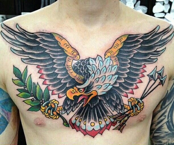 Traditional American Old School Eagle Chest Tattoo
