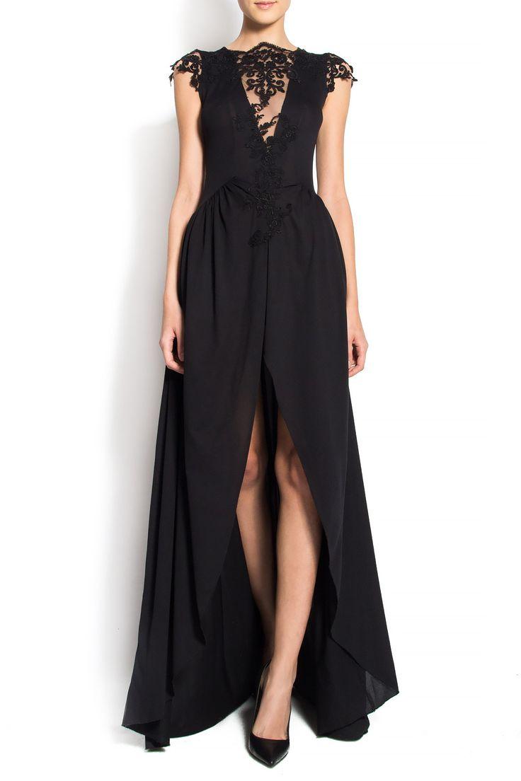 R'Ias Couture | Rochie maxi din stofa neagra si insertii din dantela | WE LOVE COUTURE