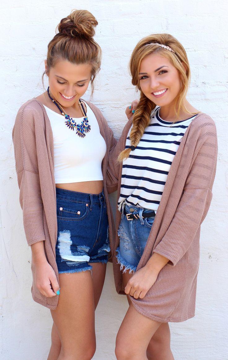 Best friend photoshoot - denim high waisted shorts - mocha cardigan - back to school outfit - fall fashion