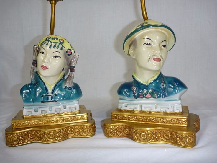 Pr Vintage Mid Century Asian China Man Amp Woman Ceramic