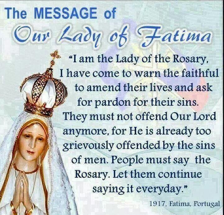 Resultado de imagen para our lady of fatima message