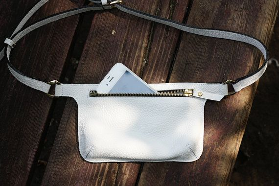 White Leather Belt Bag Waist Bag Fanny Pack Hip by MISHKAbags