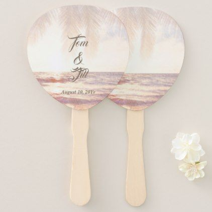Golden Beach Watercolor Wedding Hand Fan - summer wedding diy marriage customize personalize couple idea individuel