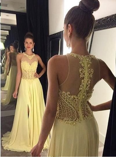 See through Prom Dresses, Halter Yellow Prom Dress, Beaded Prom Dress, Long Chiffon Prom Dress #promdresses #SIMIBridal