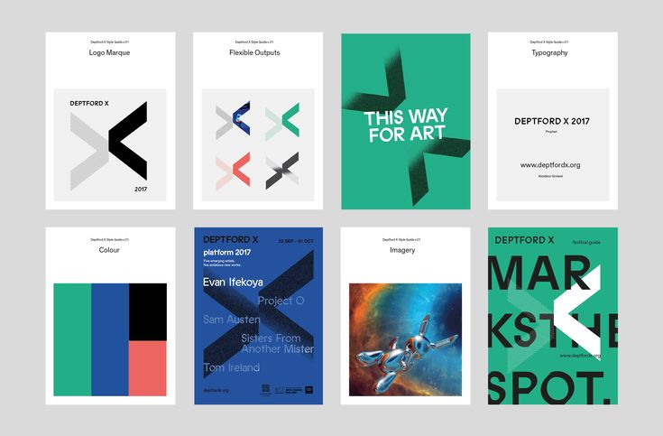 Logo and brand guidelines designed by IYA Studio for arts festival Deptford X