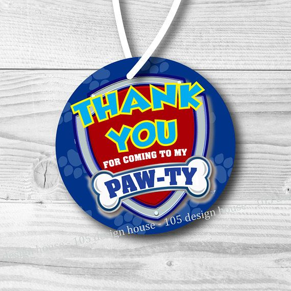 Paw Patrol Favor Tag Printable INSTANT DOWNLOAD Paw Patrol Party - Paw Patrol Favor Tag - Paw Patrol Gift Tag - Paw Patrol Party - Paw Patrol Birthday - Paw Patrol Decorations - Paw Patrol Decor - Paw Patrol Invite - Paw Patrol Invitations