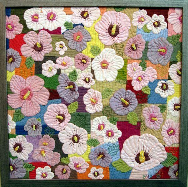 Framed quilt with flowers, Tokyo International Quilt Festival 2011