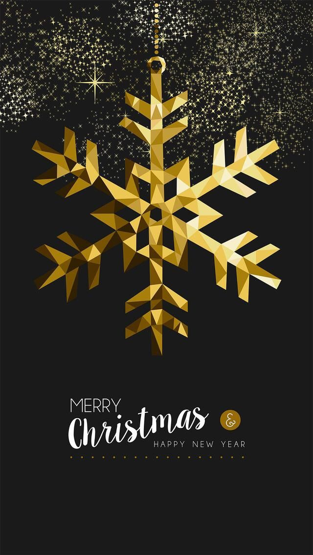 free ecard christmas party invitations%0A Merry christmas happy new year fancy gold winter snowflake shape in hipster  origami style  Ideal for xmas card or elegant holiday party invitation