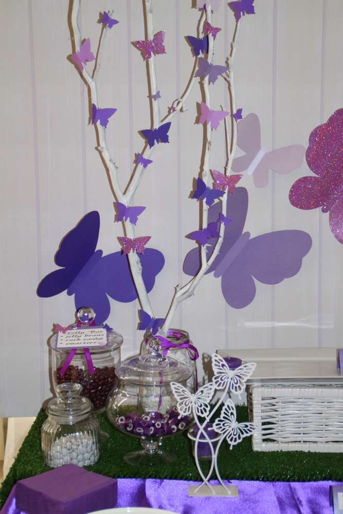 Purple butterflies and elephants Birthday Party Ideas | Photo 11 of 32 | Catch My Party