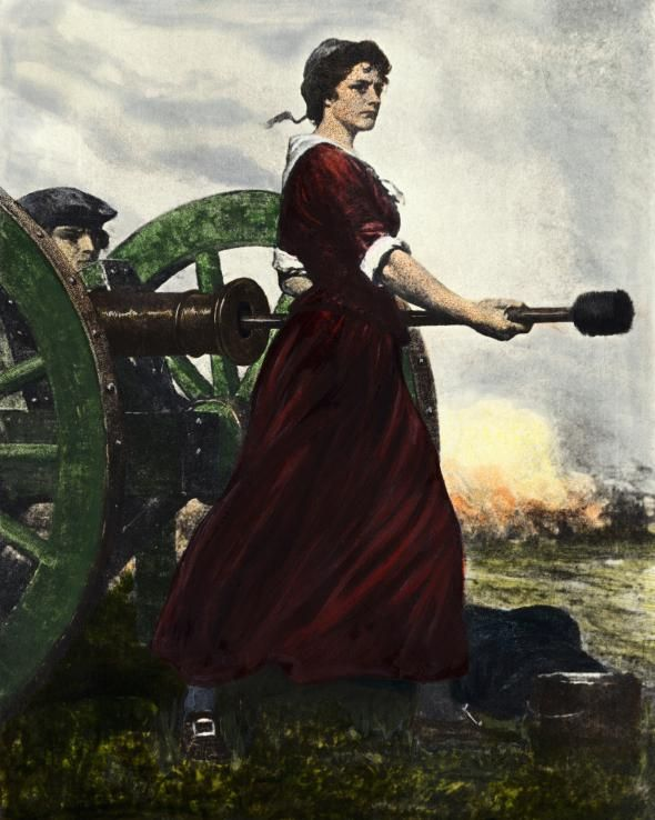Molly Pitcher - At the Battle of Monmouth in June 1778, Mary attended to the Revolutionary soldiers by giving them water. As her husband was carried off the battlefield, Mary took his place at the cannon.: