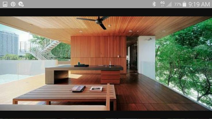 Like style of Bench/bar with kitchen for seating & view of pool. shaded