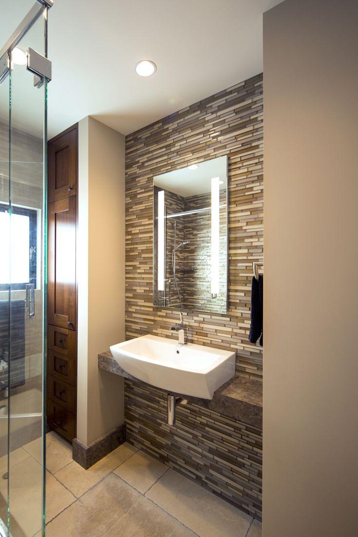 Contemporary condo bath modern bathroom chicago by jill jordan - Modern Bathroom Modern Organic Materials Natural Materials Modern Vanity Shelf Glass