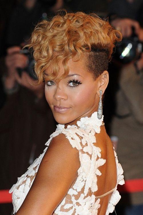 Rihanna Curly Mohawk Hairstyle