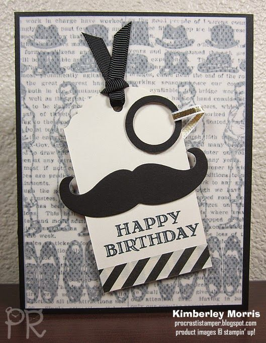 """Guy Greetings stamp set, Mustache Die, Typeset Designer Series Paper, Vellum Cardstock, Basic Black Cardstock, Very Vanilla Cardstock, Transfer Adhesive Sheets (to attach vellum), Memento Tuxedo Black ink pad (of course, because a sir wears a tuxedo!), Ornate Tag Punch, 3/4"""" Circle Punch, 1"""" Circle Punch, 1/8"""" Basic Black Tafetta Ribbon (different from the one shown), 1/8"""" Gold Ribbon, Mini Glue Dots, Stampin' Dimensionals."""