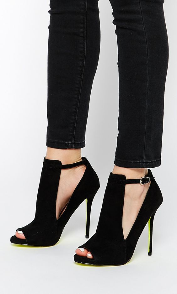 Carvela Glance Cut Out Black Heeled Shoes