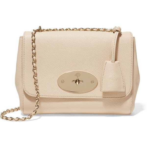 Mulberry Lily small textured-leather shoulder bag ($990) ❤ liked on Polyvore featuring bags, handbags, shoulder bags, neutrals, chain strap purse, mulberry shoulder bag, shoulder hand bags, chain handle handbags and pink shoulder handbags