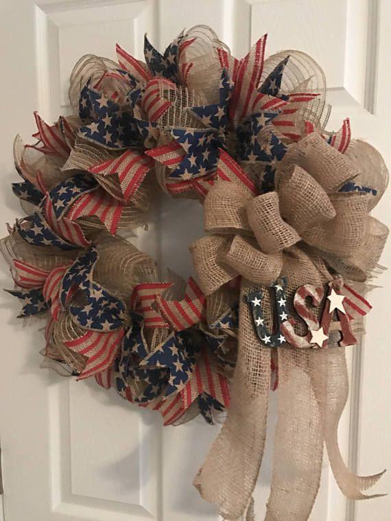 Patriotic Wreath Veterans Day Wreath Americana Wreath