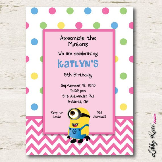 Minion Birthday Invitation Girl Printables by LibbyKateSmiles, $1.35 | Party ideas,recipes and ...