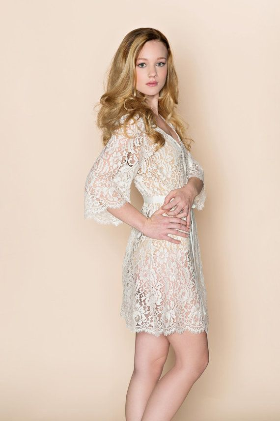 Kate French Lace wedding robe wrap in off by girlwithseriousdream, $289.99