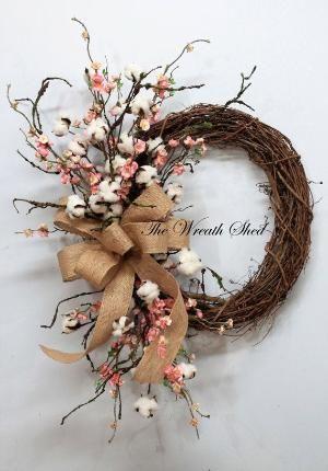 Blossom/Cotton Boll Wreath, Natural Cotton Bolls, Wedding Wreath, 2nd Anniversary Gift, Farmhouse Decor, Burlap Bow, Country Primitive Decor by toni