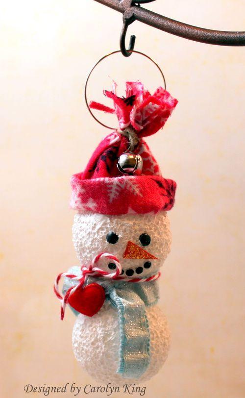 Styrofoam Snowman ornament....<3