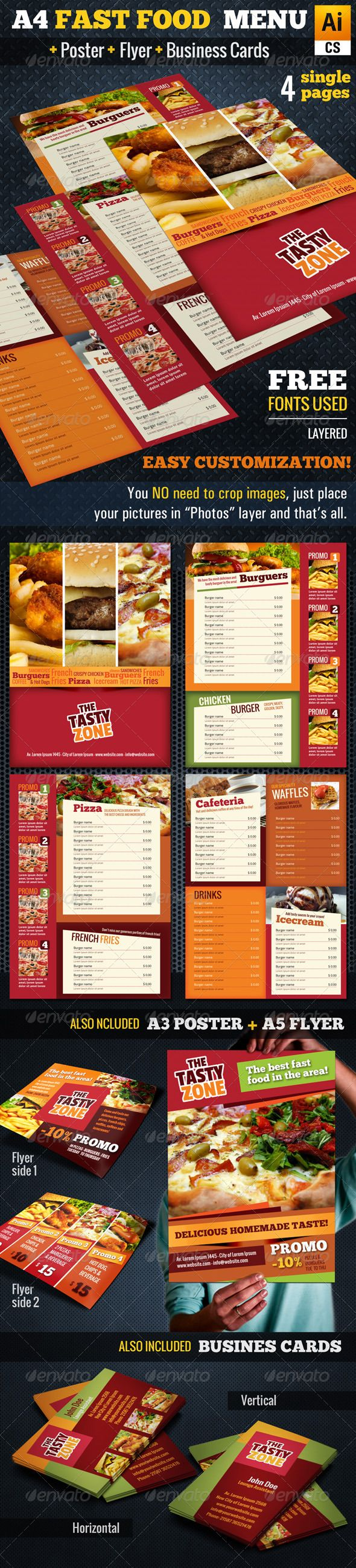 A4 Fast Food Menu + Poster + Flyer + Cards - Food Menus Print Templates