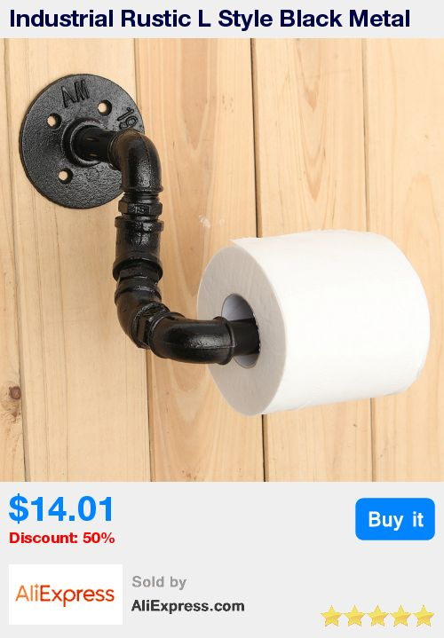 Industrial Rustic L Style Black Metal Bathroom Toilet Roll Paper Holder Home Hotel Toilet Tissue Paper Storage Rack Rail * Pub Date: 03:30 Apr 12 2017