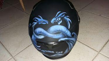 Airbrush helmet dragon heart