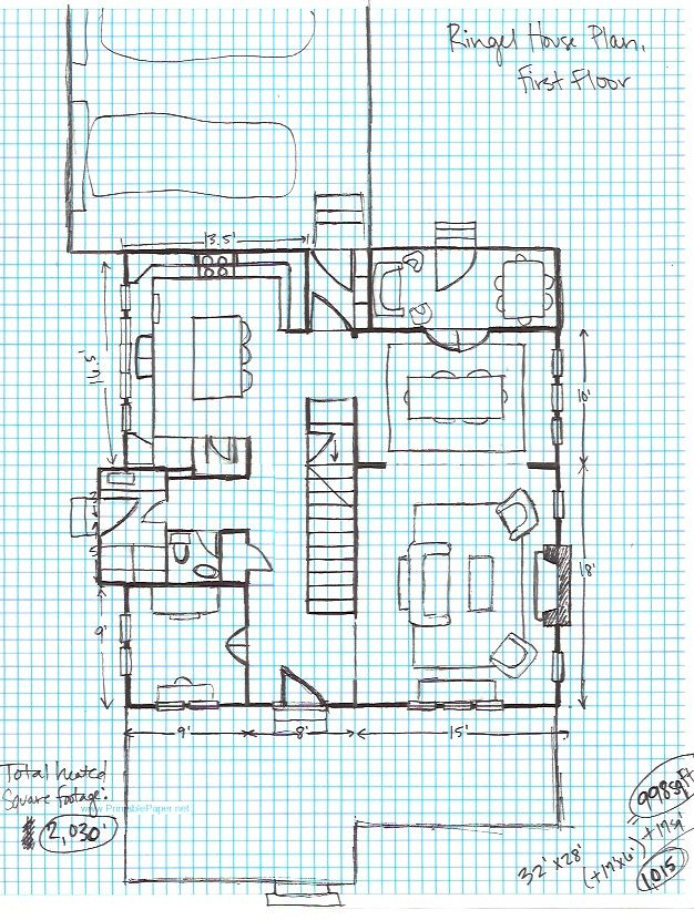 Ringel House Plan, graph paper- first floor Letu0027s Build A House - graph paper word