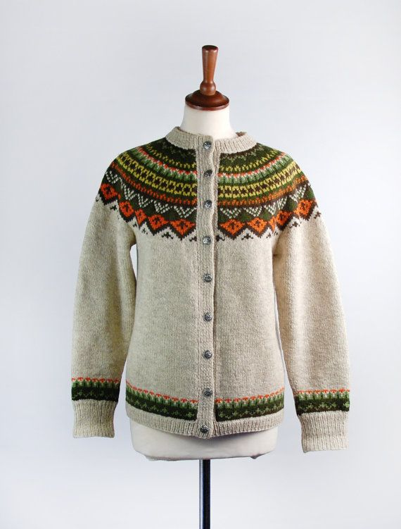 Vintage Intarsia Knit Sweater  Fair Isle Cardigan by DesertMoss