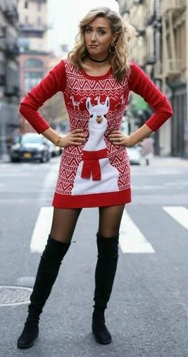 d04fc11e237 amazing christmas outfit idea   printed sweater dress   over knee boots