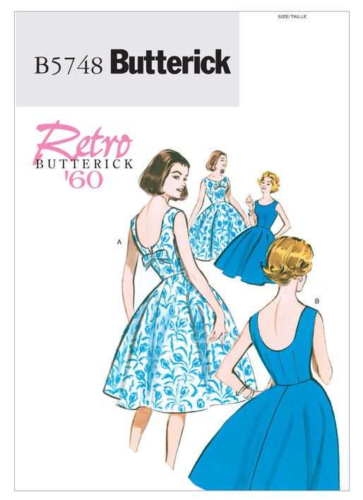 | Butterick Patterns 5748 Retro Butterick 1960 Misses'/Misses' Petite Flared Dresses. Sizes 16 thru 22