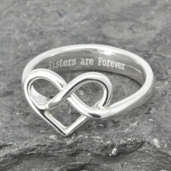 Infinity Ring, Heart  Ring, Knot, Sterling Silver Ring, best friend, promise,personalized, friendship, sisters, mother daughter, Ring by JubileJewel on Etsy