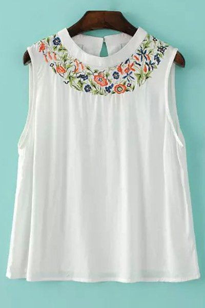 Embroidered White Tank Top ==