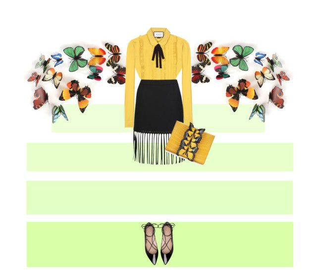 Yellow fall by malinkova on Polyvore featuring moda, Gucci, Alexander Wang, Kate Spade, Nancy Gonzalez, fallfashion and falltrend