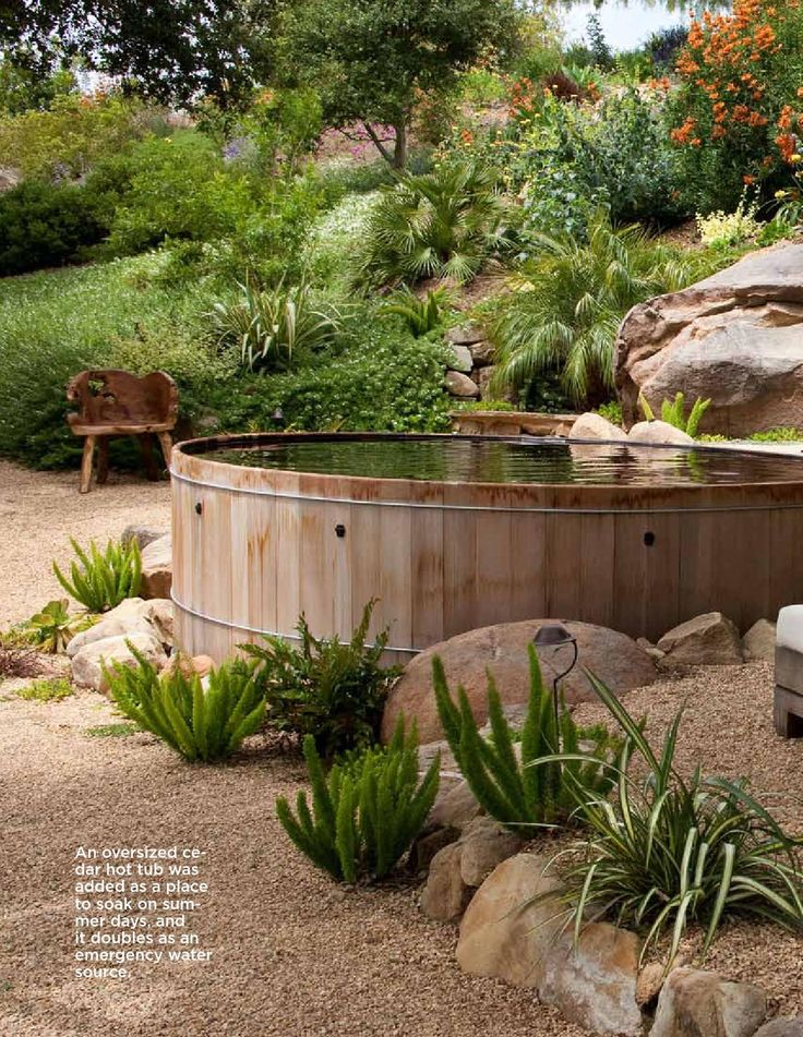 Cedar hot tubs are kits that can be constructed onsite. they can also be a good elevation change feature, blending into a location where a deck can be built around the hot tub.  Cedar hot tub from Roberts Hot Tubs http://www.rhtubs.com/index.html