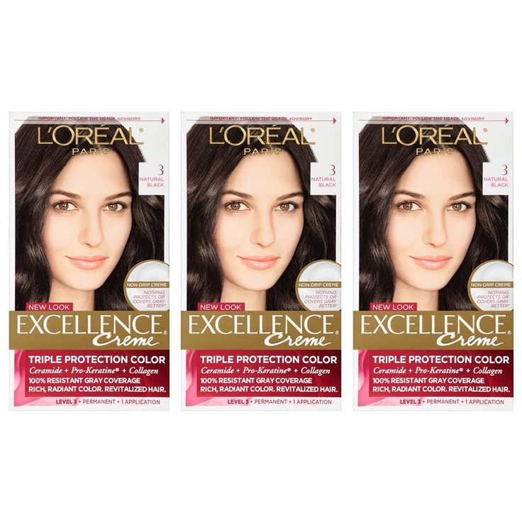 L'Oréal Paris Excellence Créme Permanent Hair Color, 3 Natural Black, 3 Count *** You can find out more details at the link of the image. #hairoftheday