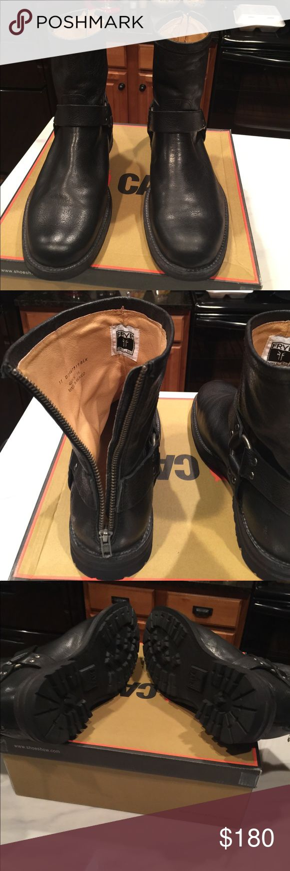 Men's Frye Boots Black leather boots for sale. Work only once. Size 11 Frye Shoes Combat & Moto Boots