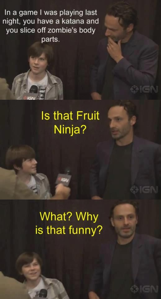 Chandler Riggs and Andrew Lincoln from The Walking Dead ♥