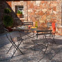 salon de jardin mtal bistro taupe 1 table rectangulaire 4 chaises - Salon De Jardin Mtal Color