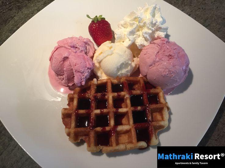 Tasty Belgium waffles with ice cream, whipped cream and syrup! #Waffles #Luikse  #Wafels #Ijs #Ice #Cream #Mathraki #Resort #Gouvia #Corfu #Greece #Vanilla #Summer #Tasty