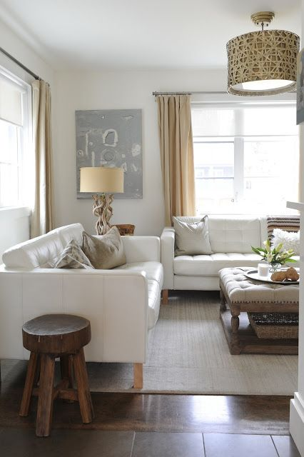 La Dolce Vita: My Favorite Room: Erica Cook  Looks like the ikea karstad sofas in white leather
