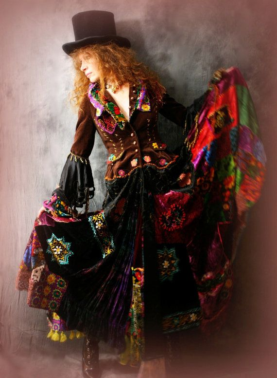 Vintage Magical Hippie Gypsy Stevie Rock Star Dress Fairy Tale Coat Embroidered Patchwork Velvet $950