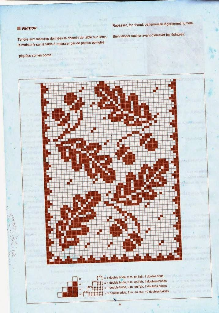 Leaf Table Runner Filet Crochet Chart