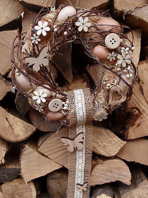 Prírodný veniec s drevenými ozdobami / erikak - SAShE.sk - Handmade Dekorácie