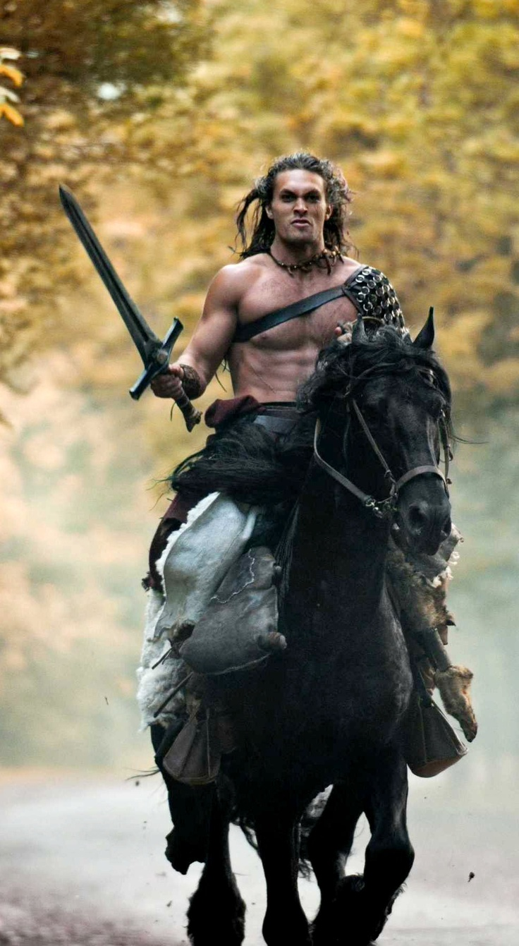 The very cute and talented Jason Momoa looking great as Conan. The Barbarian, not the show host. :P